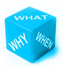 image of dice with What, Why, When on it